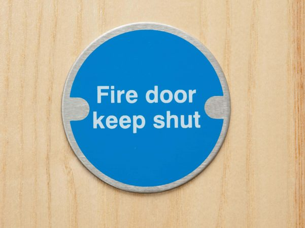 Fire Door Keep Shut Blue Sign