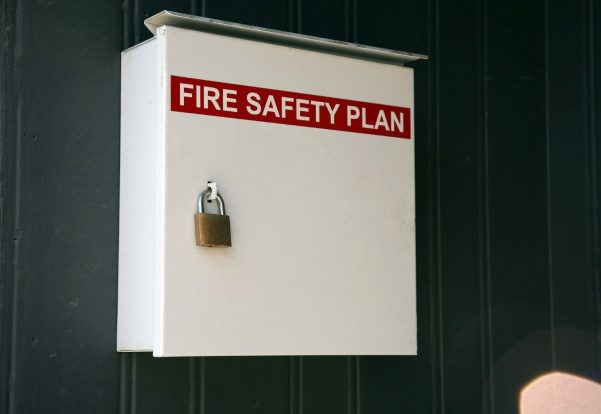 Fire safety plan box with a padlock on it